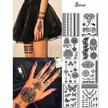 8 Sheets Temporary Tattoo Stickers Lace Sexy Body Waterproof