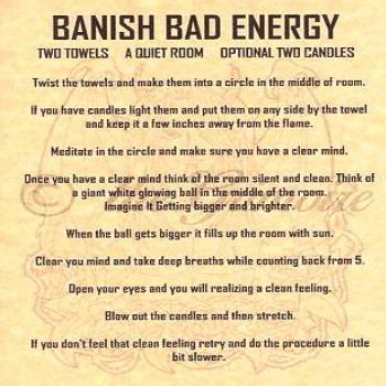 Banish Bad Energy Spell, Book of Shadows Page, BOS Pages, Real Witchcraft Spells
