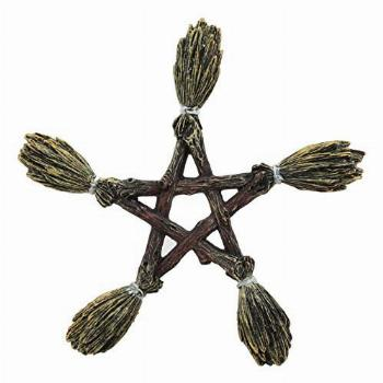 Ebros Witchcraft and Wiccan Broomsticks Pentagram Wall Decor