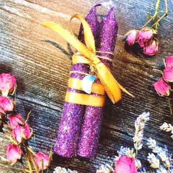 Moon Child Taper Candles ~ Anita Apothecary, Aura crystals, altar tools, witchcraft altar, glitter