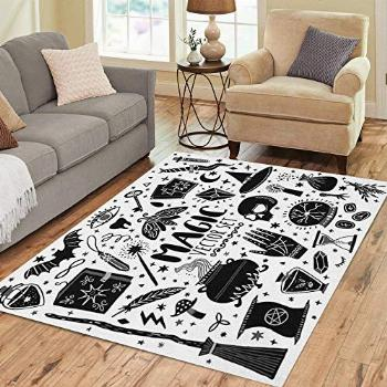 Pinbeam Area Rug Witch Magic Doodle Sketch Magician