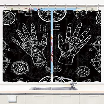 Tarot Kitchen Window Curtains, Old Tattoos Mystic and Occult