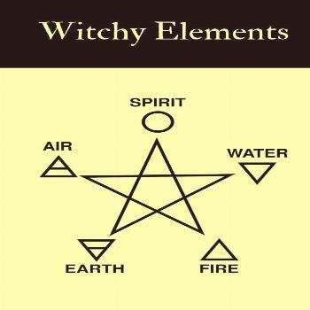 The four elements and Spirit. The triangle is the reconciling of two forces to create balance.