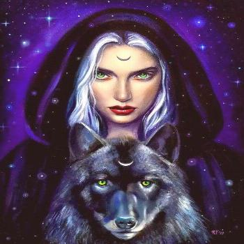 Wiccan art, 8x10 print, witchy decor, pagan art print, wiccan wolf art, gift for wolf lover, wolf a