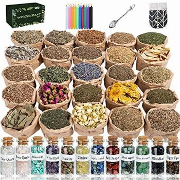 Witchcraft Supplies Box for Wiccan Spells, 60PCS Witchcraft