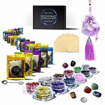 Witchcraft Supplies Kit, 53p Crystals for Beginners & Dried