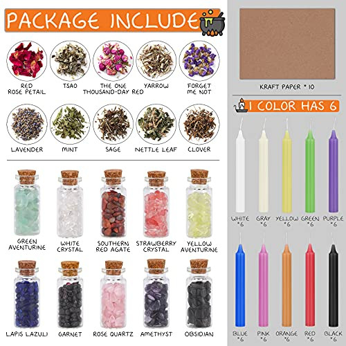 90 Pack Witchcraft Supplies Kit-10 Crystal Jars,60 Colored