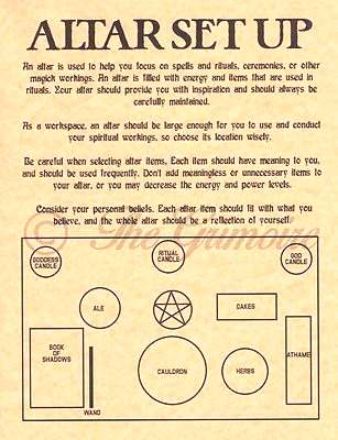 Altar Set Up Diagram amp Tips, Book of Shadows Spell Page, Witchcraft, Wicca Altar