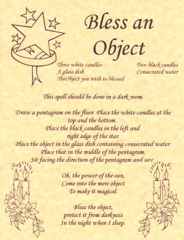 Bless an Object Book of Shadows Page BOS Pages Witchcraft Spell Wicca Poster