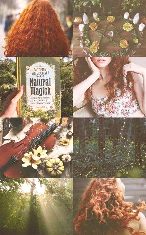 Character Inspiration Jean, Jinx Aesthetic girl, witch, nature witchcraft, redhair, magic, forest