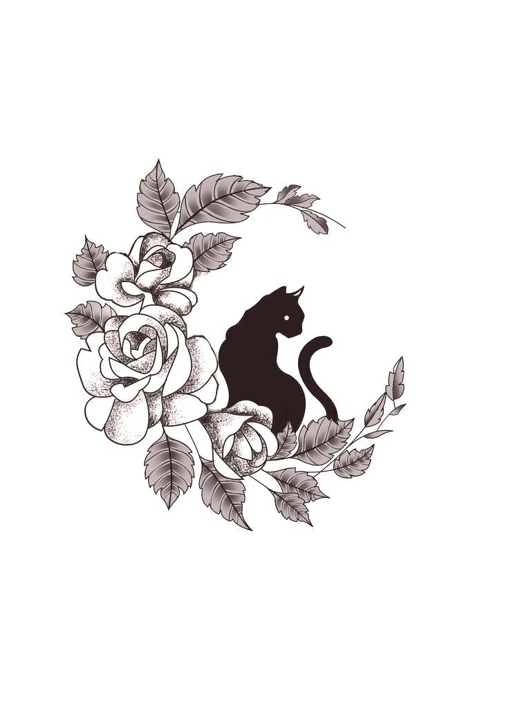 floral witchcraft cat hand drawn elements tattoos– Google Поиск floral witchcraft cat hand