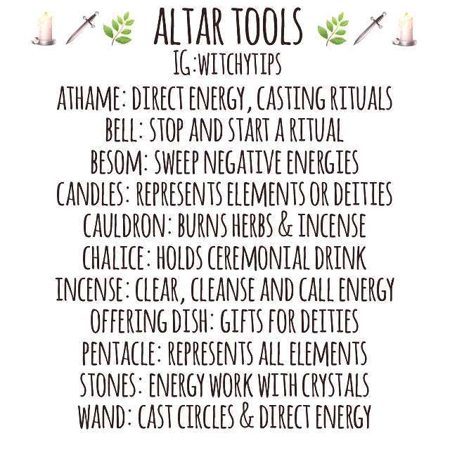 Here is a list of the most common tools on an altar. It does not include everything, just the main