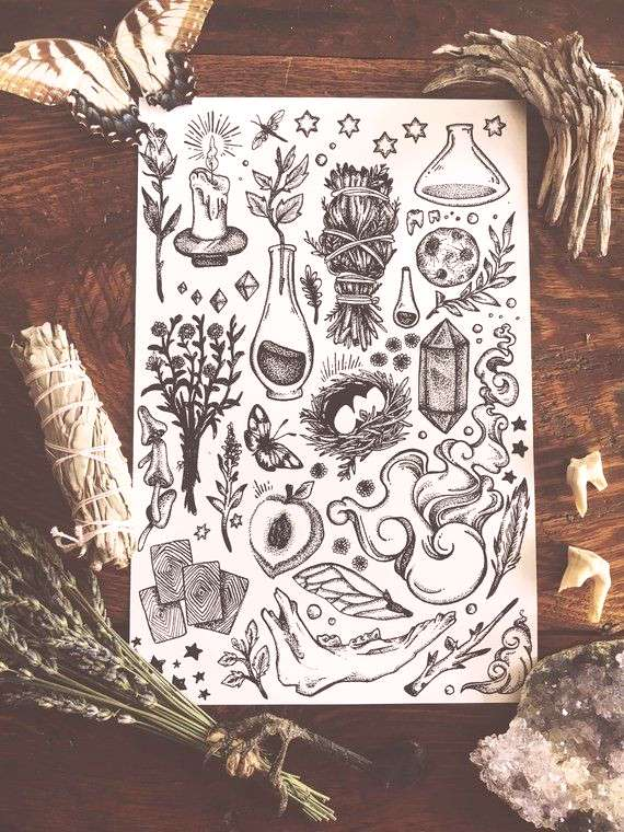Midwestern Witchcraft Print | Witchcraft art | gift for witches | black and white illustration | bo