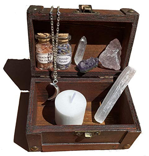 Mini Witchcraft kit Wiccan Altar Set Small Wooden Box Moon
