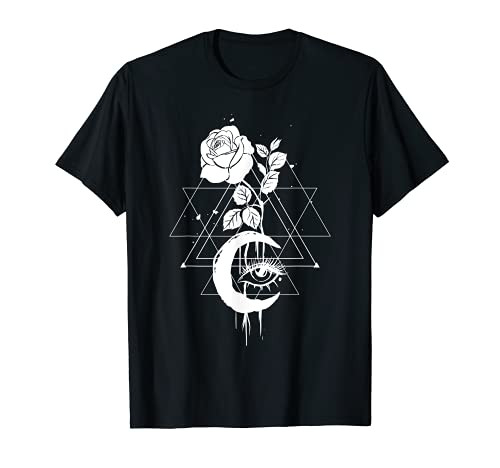 Occult Witchcraft Symbol Moon Rose Gothic Witch T-Shirt