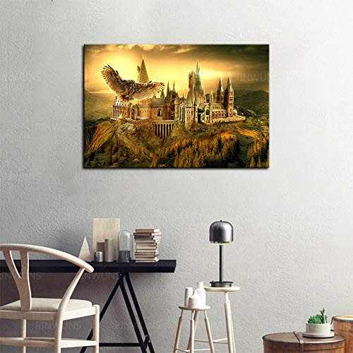 RINWUNS Wall Art Witchcraft Castle Poster School Canvas