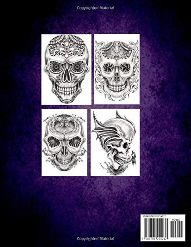Skulls Yard - Grayscale Art Coloring Book Gothic Decorated