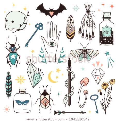 Vector colorful witch magic design elements set. Hand drawn, doodle, sketch magician collection. Wi