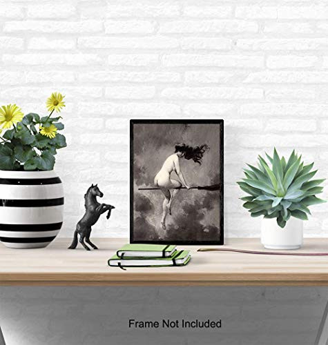 Vintage Goth Home Decor - Nude Naked Witch on Broomstick