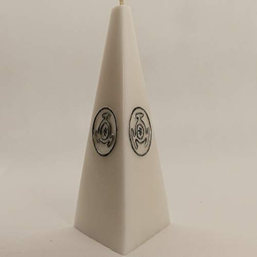 White candle altar ritual with the black and silver symbol