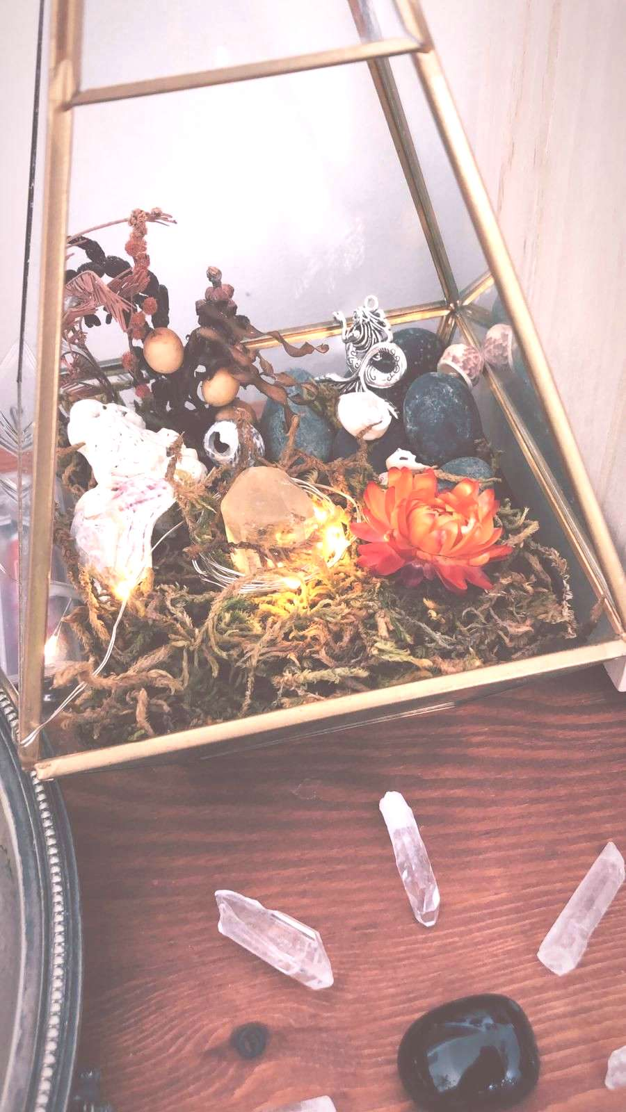 witch altar | witch aesthetic | wicca | crystal | quartz | pagan | witch cabinet | terrarium | crys