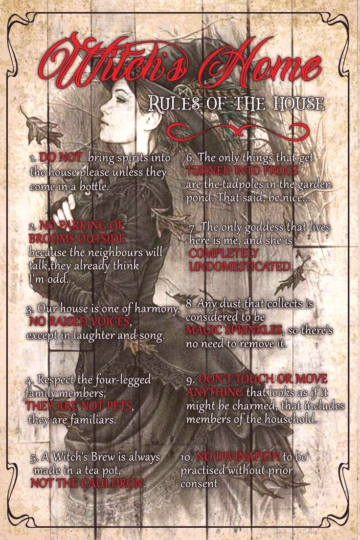 Witchcraft 101 Witchs home, Rule of the house - Witch craft, wicca, spell magic