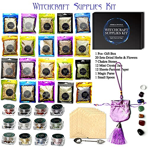 Witchcraft Supplies Kit, 53p Crystals for Beginners amp Dried