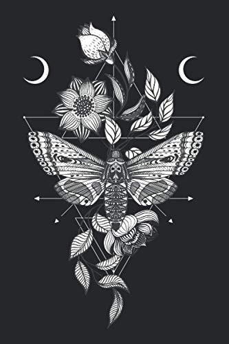 Witchy Notebook | Floral Death Moth Dot Grid Witchcraft